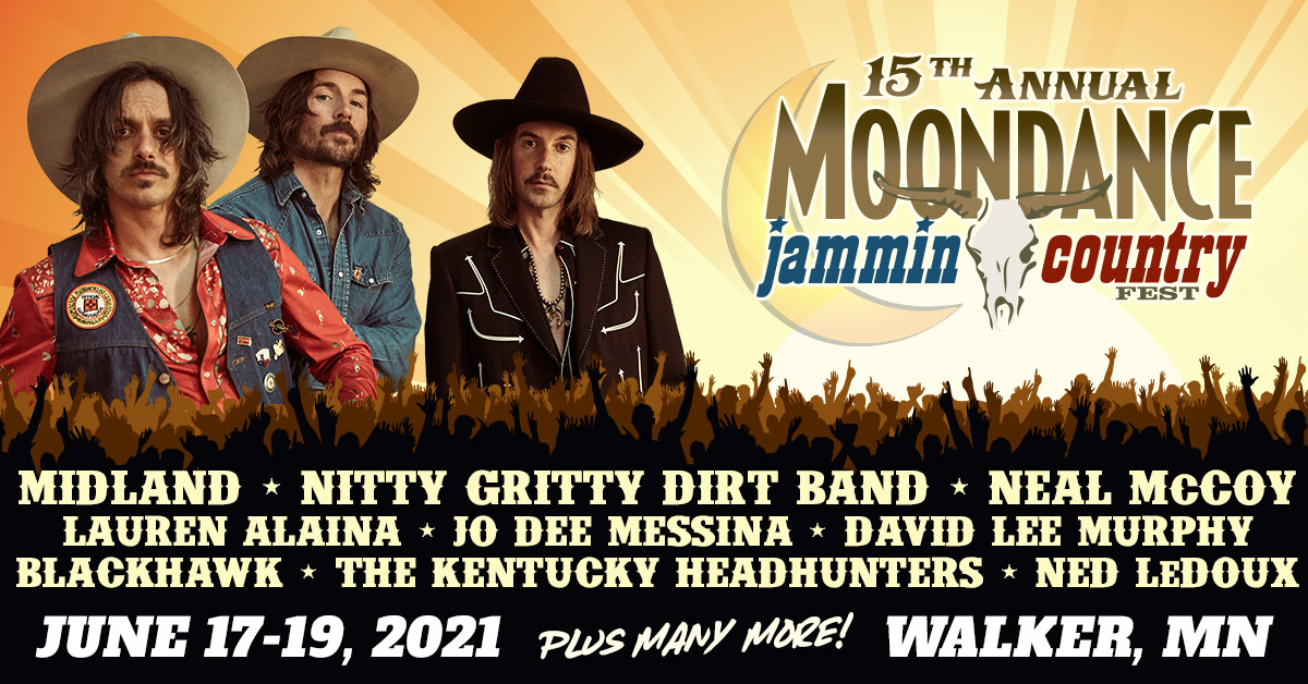 The 15th Annual Moondance Jammin Country Fest music festival on June 17-19, 2021