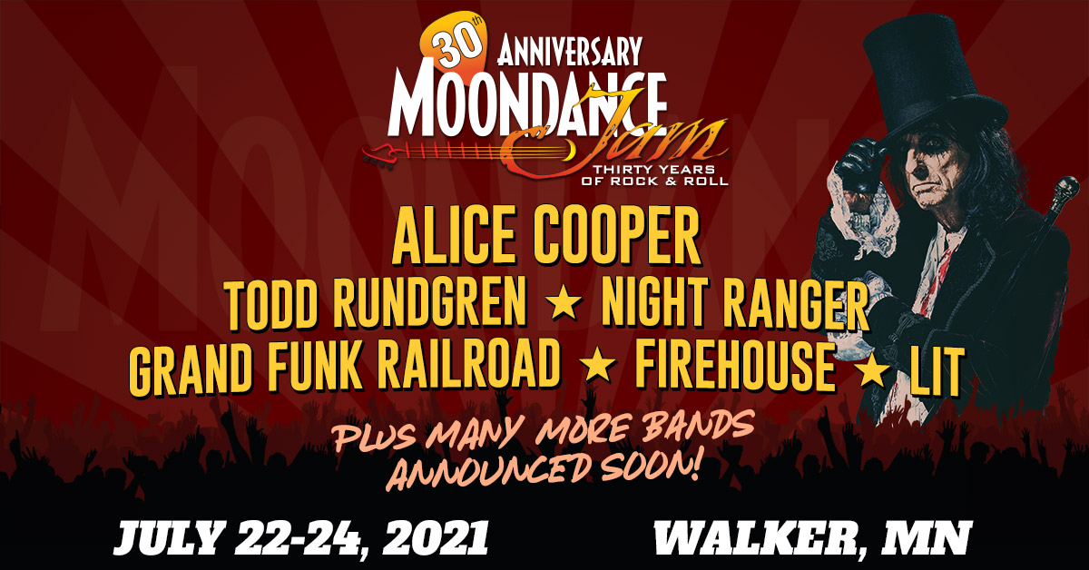 Moondance Jam 30 rock and classic rock festival held July 22-24, 2021